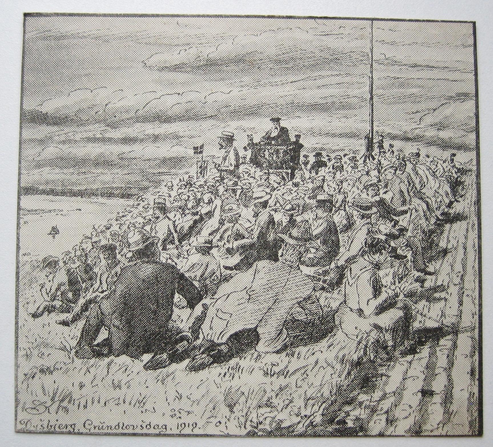 Grundlovsmøde 1919 - tegning af Søren Knudsen