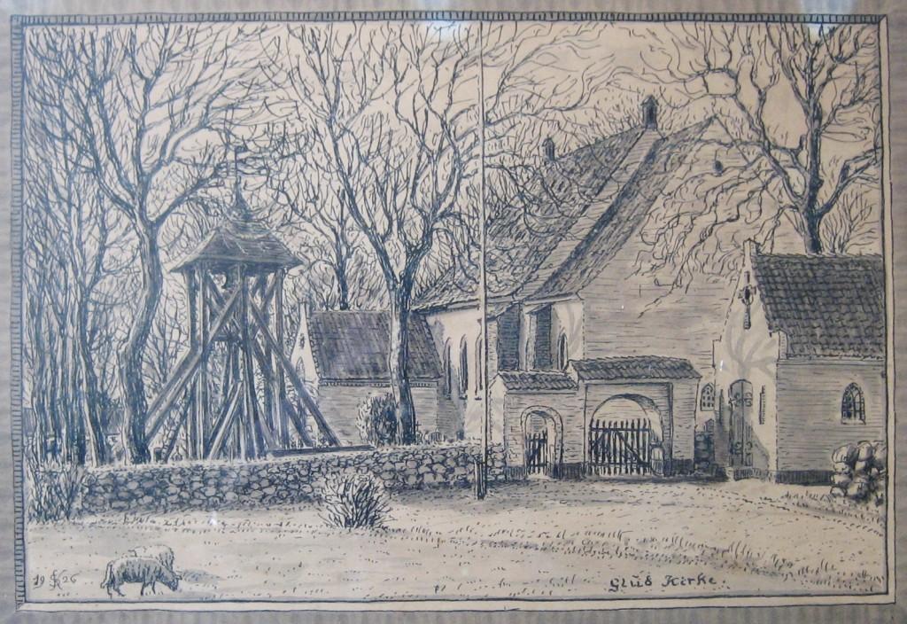 Glud Kirke 1926 tegnet af Søren Knudsen