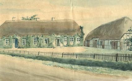 Den gamle Over Barrit Skole fra 1856, akvarel fra 1930.