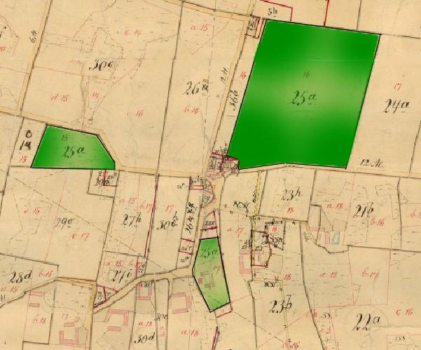 Udskiftningskortet fra 1787, hvor man kan se Foldagergårds bygninger og jord: matr.nr 25a.