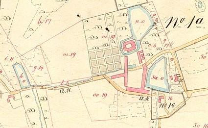 Matrikelkort, 1777-1880-erne. Det gamle Barrritskov med avlsbygninger, park, mølledam og vandmølle (ved 16)