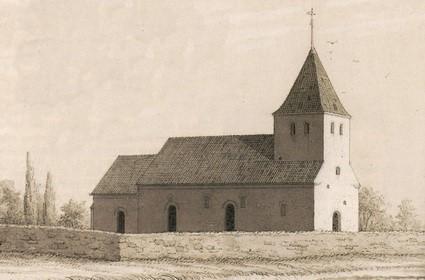 Vrigsted Kirke tegnet efter kirkens forhøjelse i 1875, men før tårnets forhøjelse i 1882.