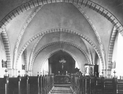 Barrit Kirkes interiør, ca. 1900.