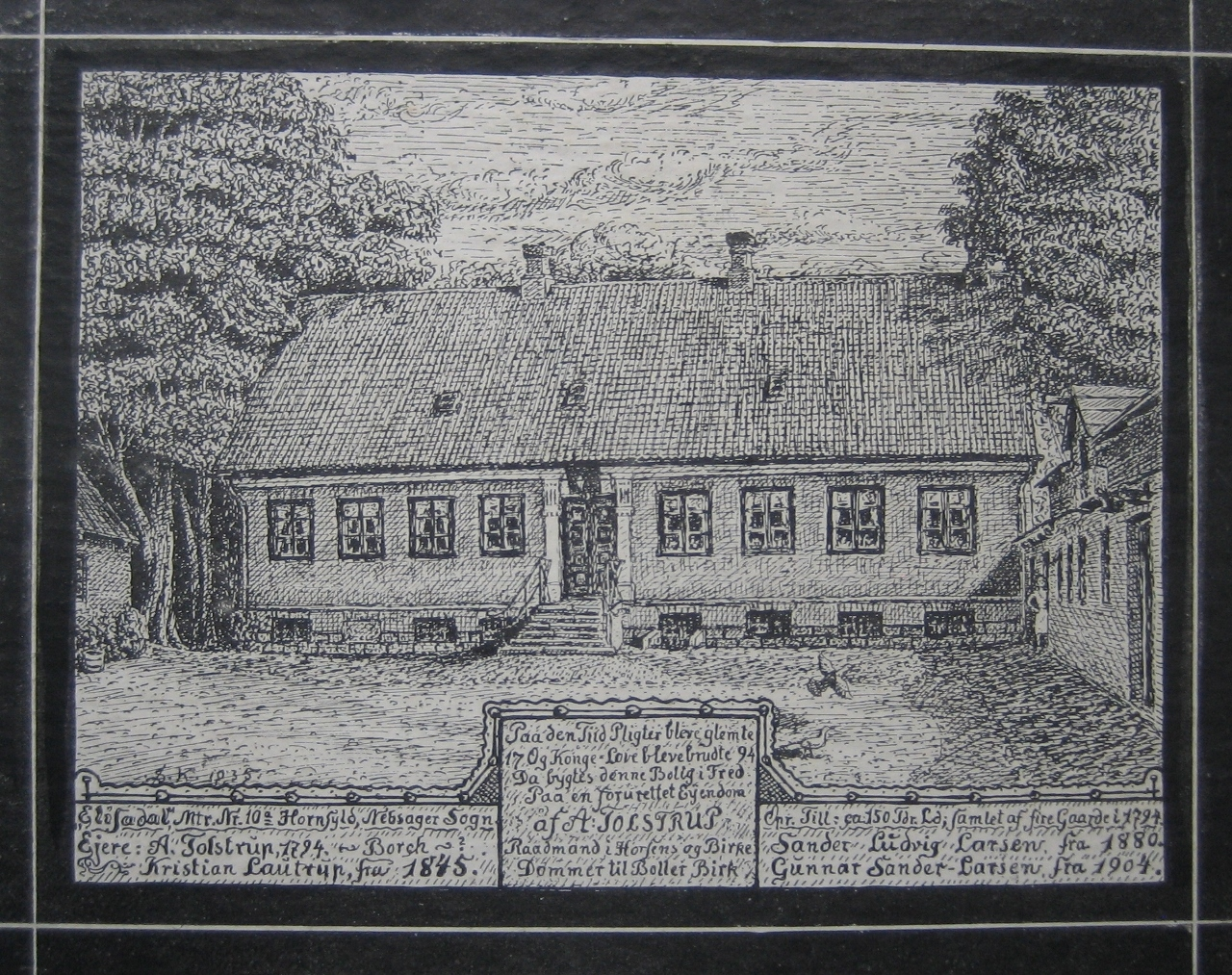 Elisedal - tegnet af Søren Knudsen 1935