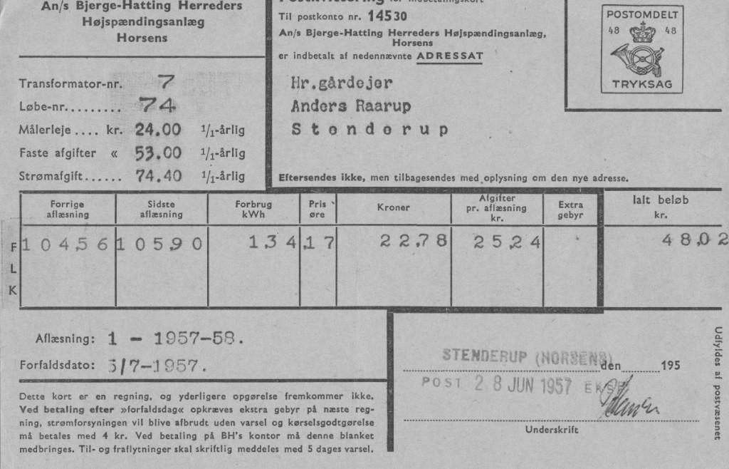 Strømregning på et landbrug 1957