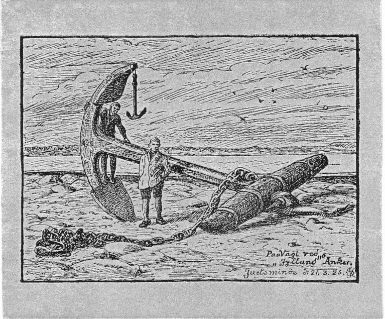 Ankeret bjerget i land - tegnet af Søren Knudsen 1923